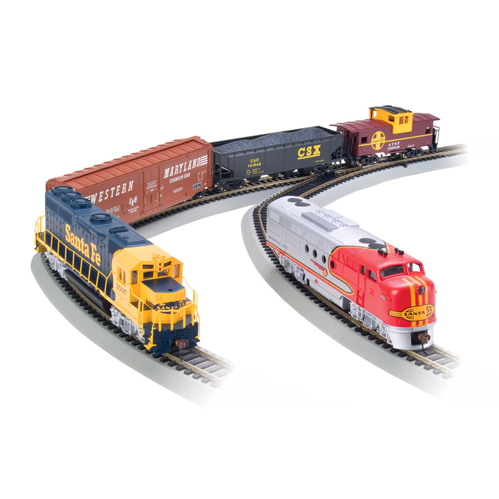 Bachmann Trains Digital Commander, HO Scale Ready-To-Run Electric Train Set With GP40 and FT Diesel Locomotives, Santa Fe