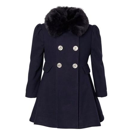 Cremson Girls' Wool Blend Princess Winter Dress Pea Coat Jacket Faux Fur Collar - Midnight (Size 10/12) Girls Faux Suede Jacket