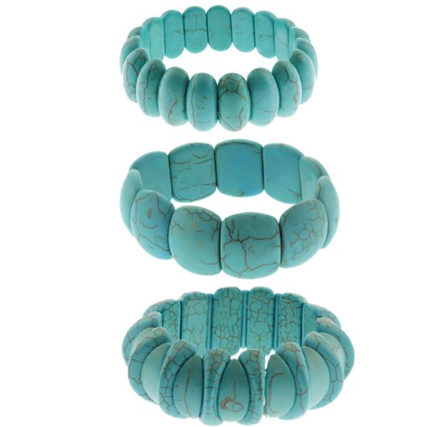 "Set of 3 Simulated Turquoise Howlite Beads 7.5"" Stretchy Bangle Bracelets"