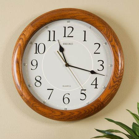 Seiko Brown Oak Quiet Sweep 13-in. Wall (Quiet Sweep Floating Clock)