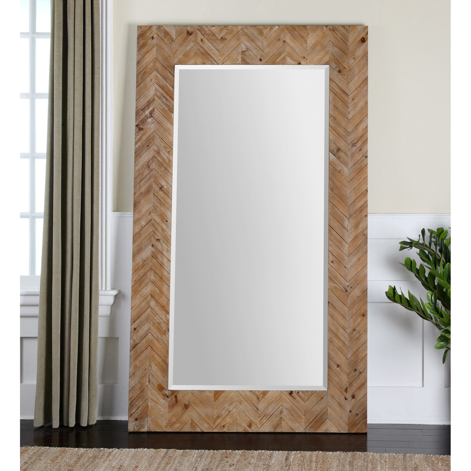 Hn Home Alta Modern Farmhouse Oversized Wooden Wall Or Leaner Mirror 43 75w X 74h In Walmart Com Walmart Com
