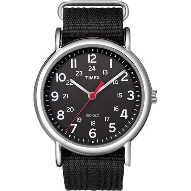 Timex Unisex Weekender 38mm Black Nylon Slip-Thru Watch