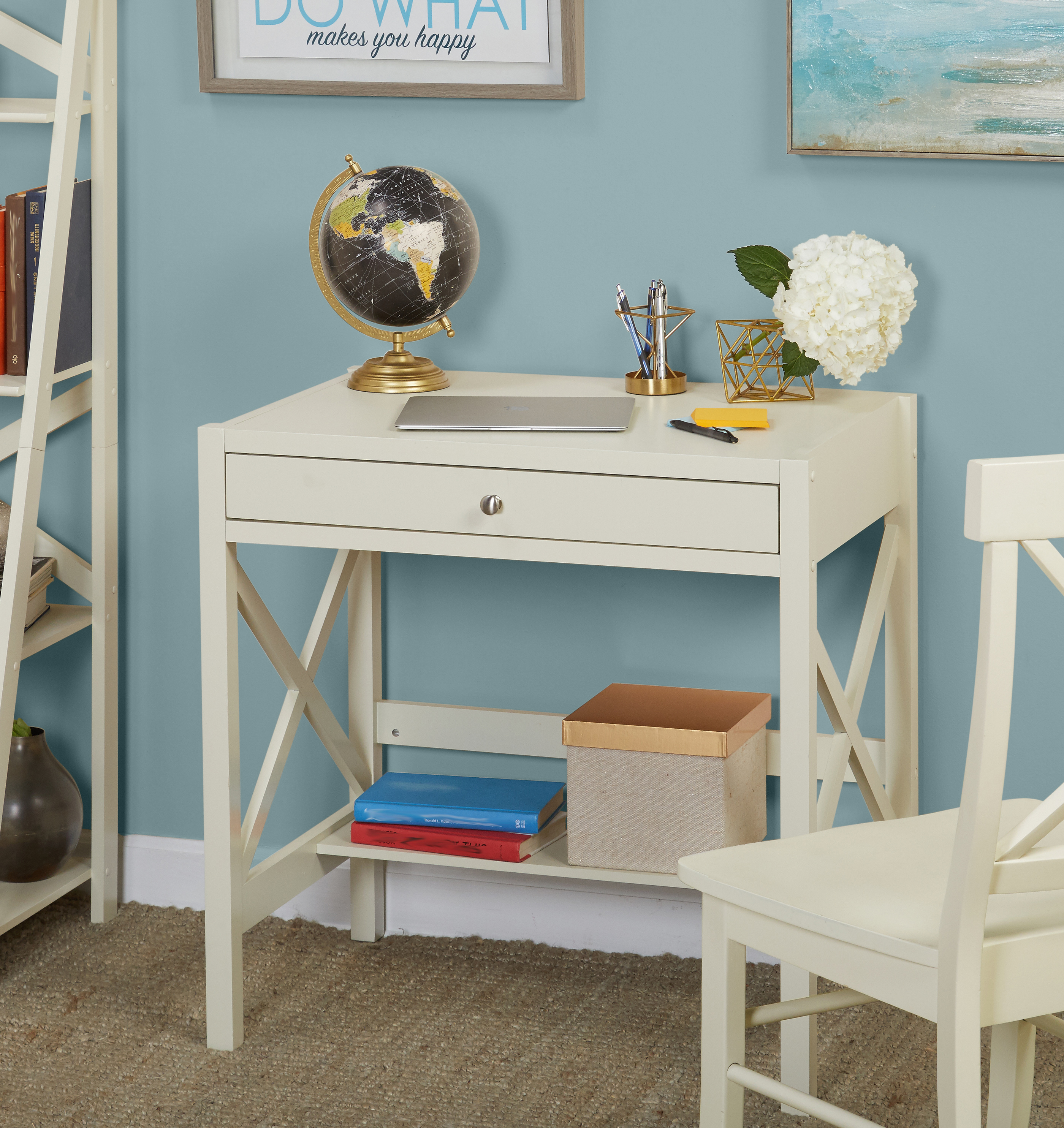 X Desk with Pullout Drawer and Shelf, Multiple Colors