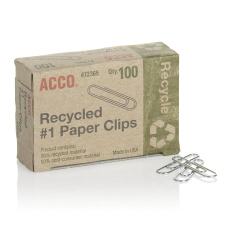 ACCO Recycled Paper Clips, Smooth Finish, #1 Size,