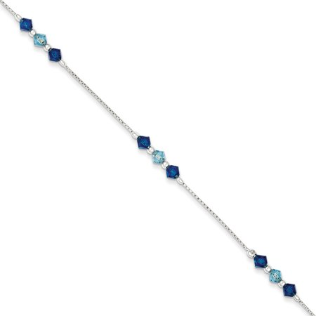 Blue Glass Bracelet (Sterling Silver Polished Aquamarine Capri Blue Glass Bead Bracelet (Weight: 1.98 Grams, Length: 7.5 Inches))
