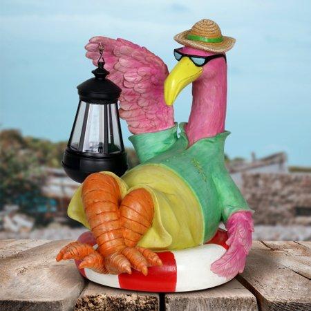 Exhart Flamingo Holding a Solar Lantern Resin Garden Statue, 8 by 11