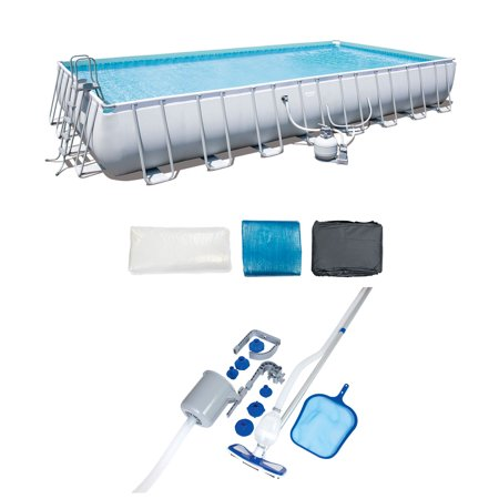 Bestway Frame Swimming Pool & Pool Cleaning Vacuum & Maintenance Accessories Kit -  56625E-BW + 58237E-BW