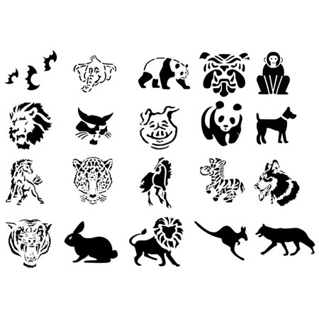 Self Adhesive Airbrush Tattoo Stencils Set 50 Book of 20 Animals Design Reusable - Tattoos Of Animals