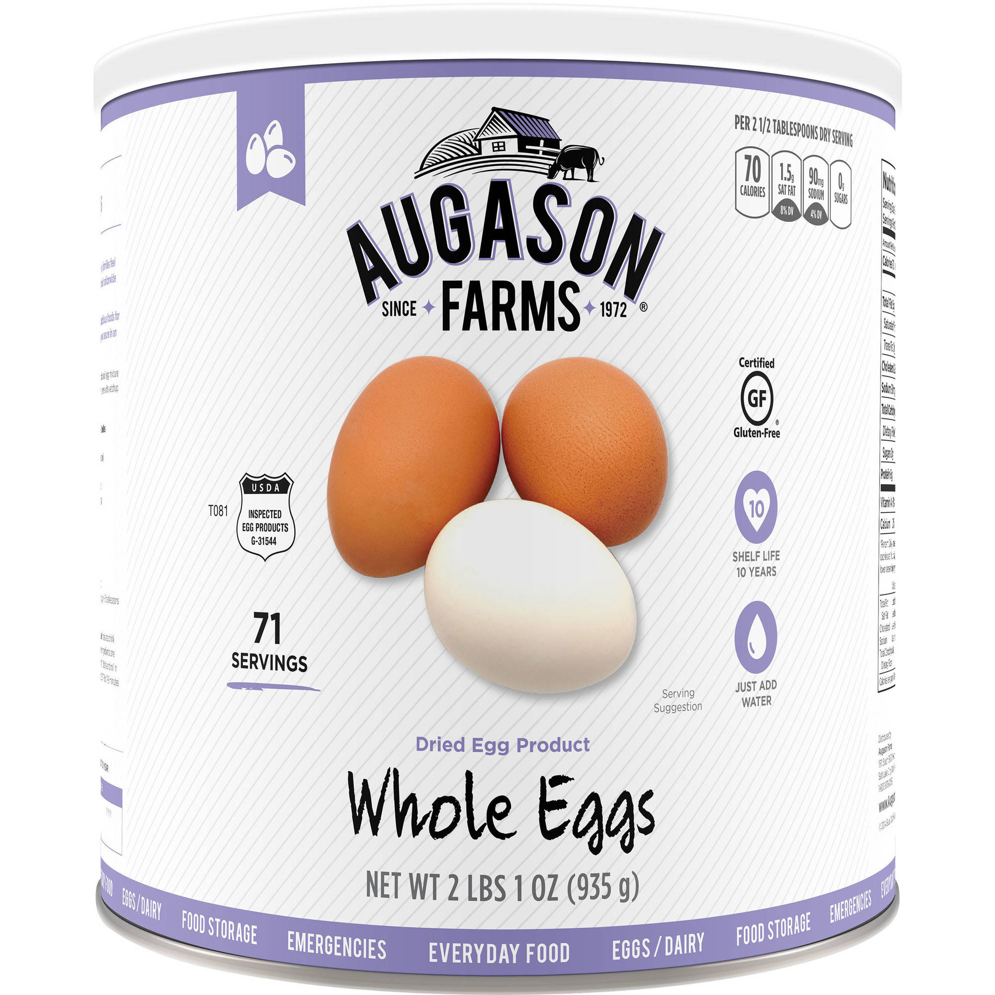 Augason Farms Emergency Food Whole Eggs Dried Egg Product, 33 oz