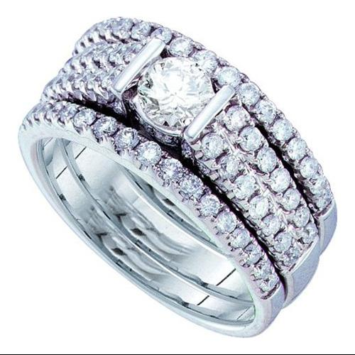 1.35Ct-Dia 0.45Ct-Crd Bridal Set Womens Fixed Ring Size - 7