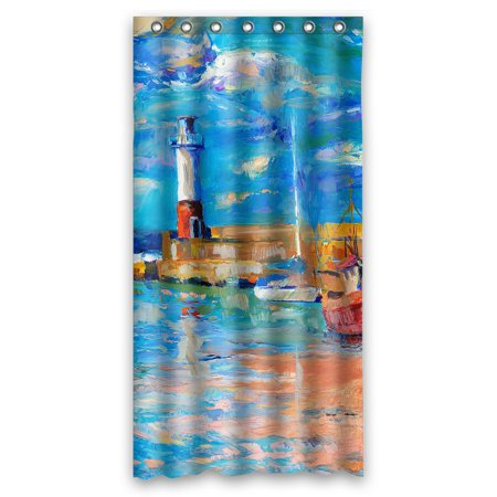 YKCG Sunset Beach Lighthouse Waterproof Fabric Bathroom Shower Curtain 36x72 Inches