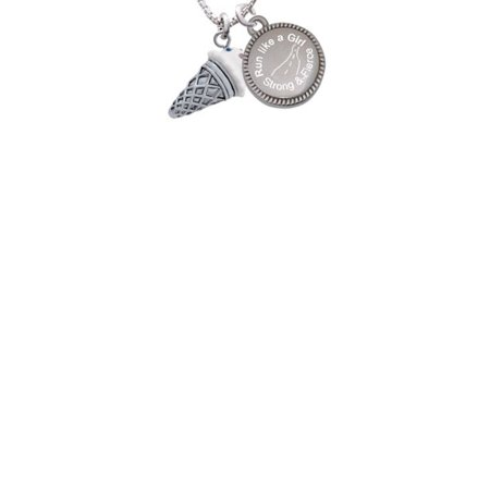 Silvertone 3-D Resin Vanilla Ice Cream Cone with Crystals Run Like a Girl - Strong and Fierce Engraved Necklace - Vanilla Girl