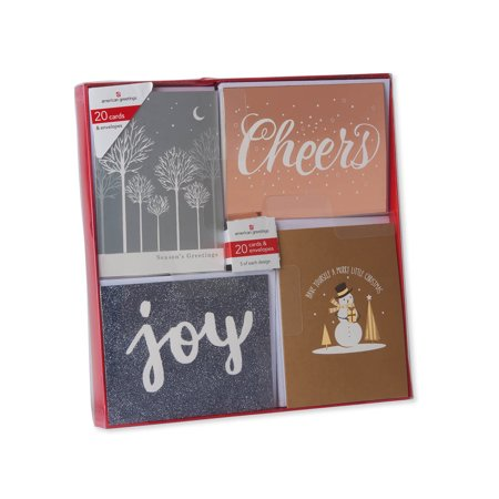 American Greetings Premium 20-Count Metallic Christmas Cards with White Envelopes ()