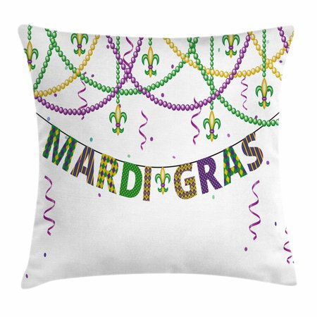 Mardi Gras Throw Pillow Cushion Cover, Festive Decorations with Fleur De Lis Icons Hanging From Colorful Beads, Decorative Square Accent Pillow Case, 18 X 18 Inches, Purple Green Yellow, by Ambesonne - Decorative Brads
