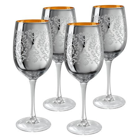 Artland Inc. Silver Brocade Wine Glasses- Set of - Gold Wine Glasses