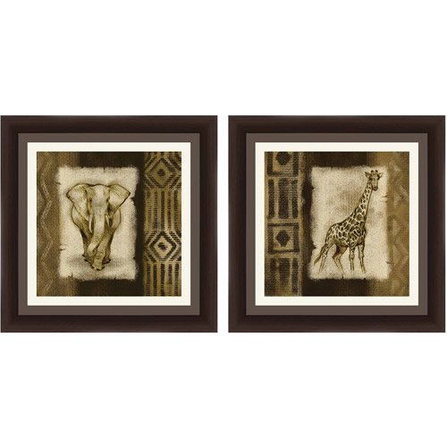 Wall Art Set Of 2 safari animals wall art, set of 2 - walmart