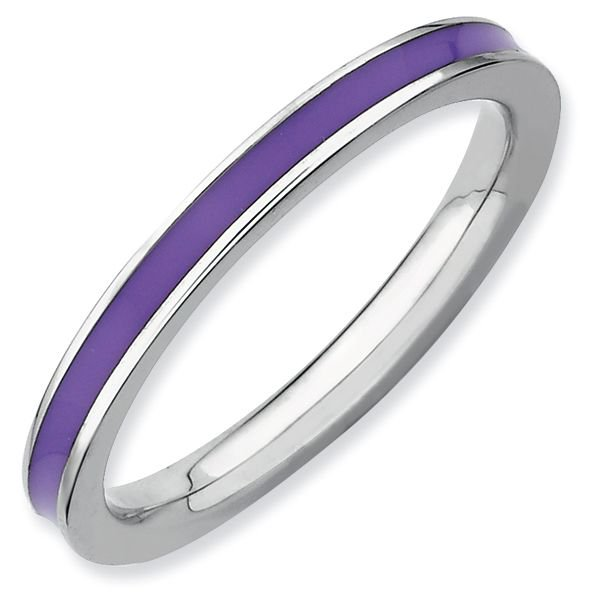 Purple Enamel 2.25mm Band Sterling Silver Stackable Ring