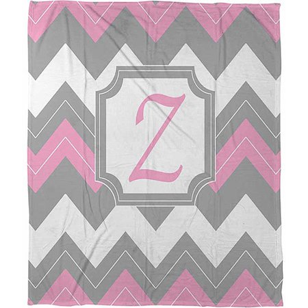 Thumbprintz Chevron Monogram Pink Z Coral Fleece Throw, 30