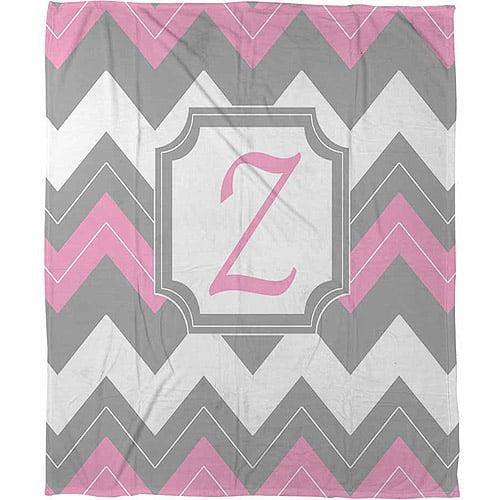 """Thumbprintz Chevron Monogram Pink Z Coral Fleece Throw, 30"""" x 40"""""""