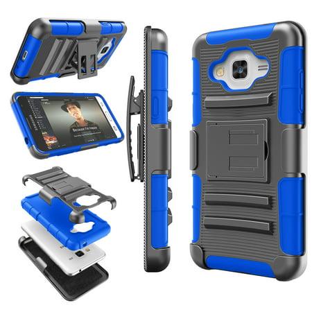 Galaxy Sky Case  J3   J3 V Case  Galaxy Sol Case  Tekcoo  Hoplite Series   Blue  Shock Absorbing Holster Locking Belt Clip Defender Heavy Kickstand Cover For Samsung Galaxy Amp Prime  Express Prime