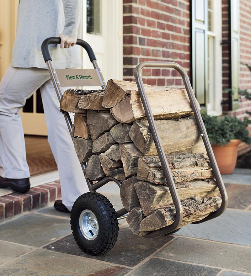Large & Sturdy Pneumatic-Wheel Log Hand Cart for Moving Firewood