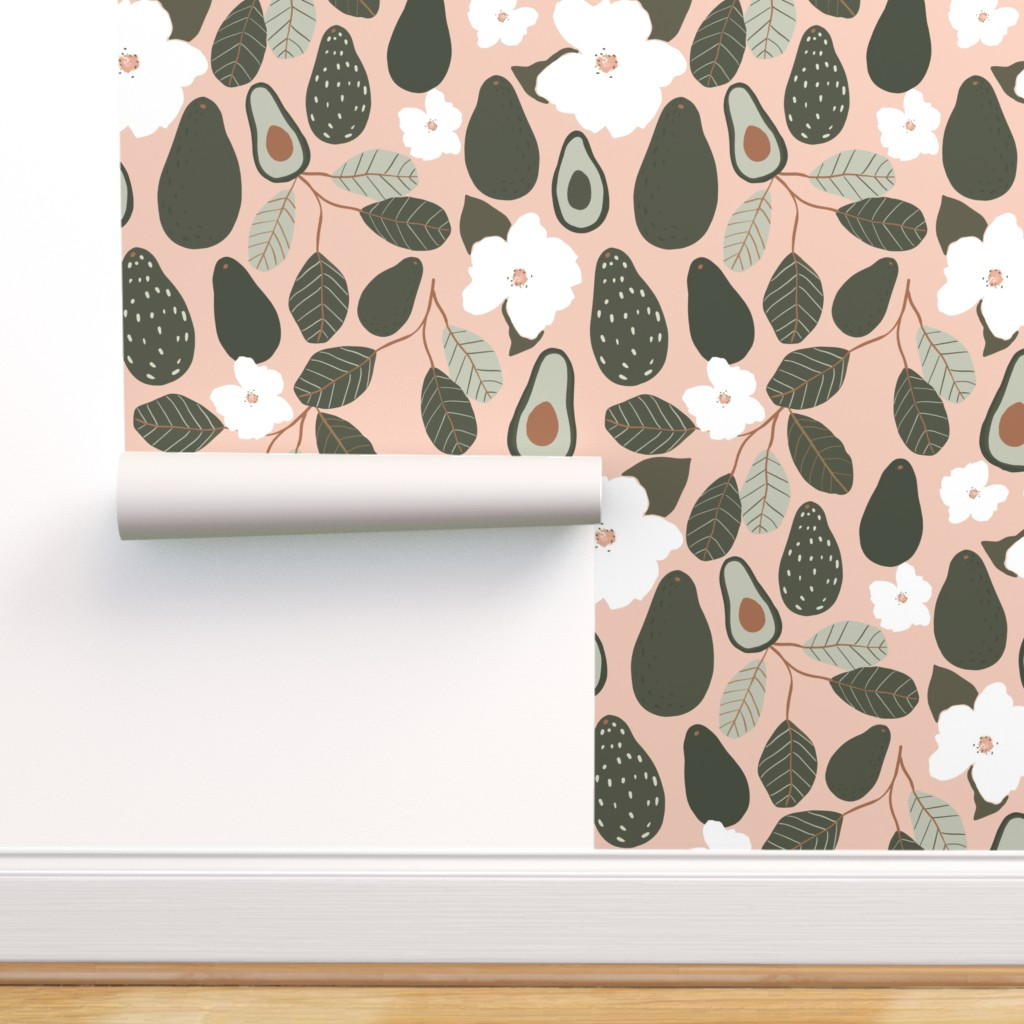 Removable Water Activated Wallpaper Avocado Floral Botanical