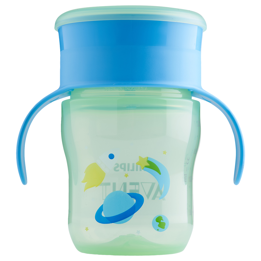 Philips Avent My First Big Kid Cup Green Blue 9m+ 360 degree BPA Free 9 oz by