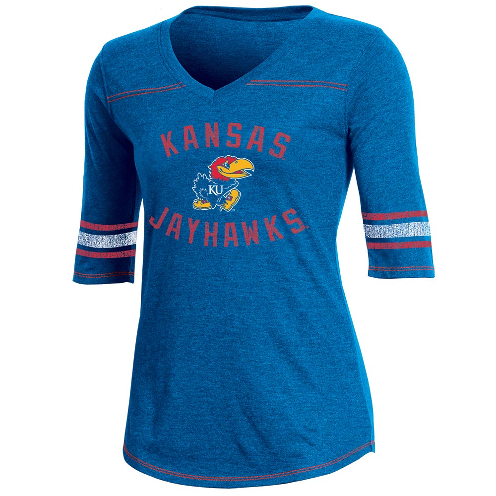 Women's Russell Royal Kansas Jayhawks Fan Half-Sleeve V-Neck T-Shirt