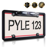 PYLE PLCM16BP - License Plate Frame Rear View Backup Camera - Reverse Parking Assist Night Vision Waterproof Marine Grade Cam Distance Scale Line Display w/ 170° Wide Viewing Angle