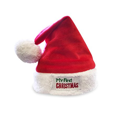 c4407e642 JennyGems Babys First Christmas Santa Hat, Embroidered Cuff