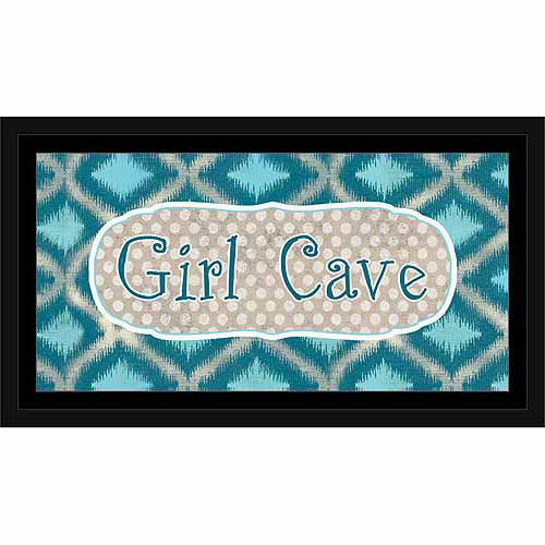 Girl Cave Sign Ikat, Polka Dots & Border Juvenile Blue, Framed Canvas Art by Pied Piper Creative