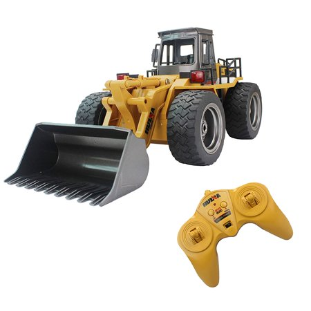 Fistone RC Truck Alloy Shovel Loader Tractor 2.4G Radio Control 4 Wheel Bulldozer 4WD Front Loader Construction Vehicle Electronic Toys Game Hobby Model with Light and -