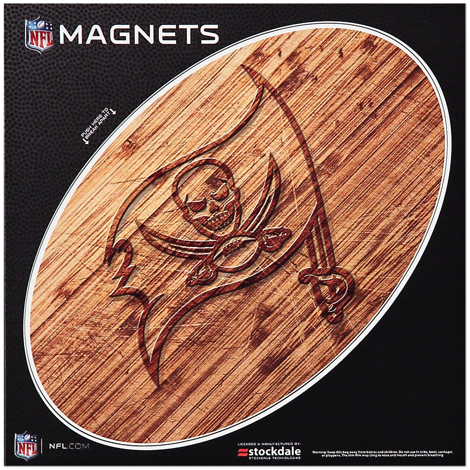 Tampa Bay Buccaneers 6 x 6 Wood Design Magnet - No Size