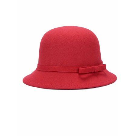 lisenraIn Women's Wool Church Cloche Flapper Hat Lady Bucket Winter Flower Cap Bucket Church Hat