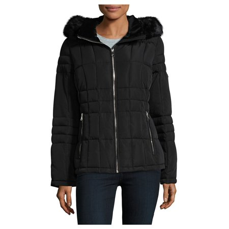 Marc New York Quilted Jacket - Faux Fur Trim Quilted Coat