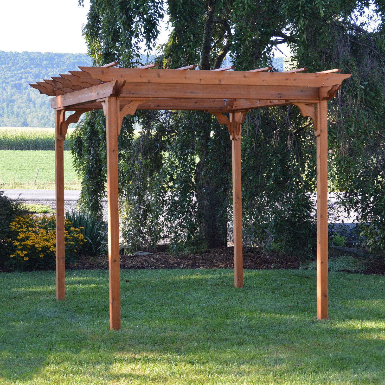 A & L Furniture Cedar Pergola with Optional Curtain by A and L Furniture Co