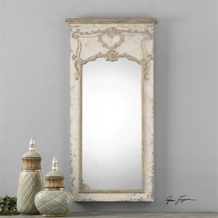 63 Roman Style Distressed White Frame With Decorative Antiqued Mirror
