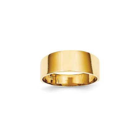 Flat Tapered Wedding Band (Solid 14k Yellow Gold 8mm Flat-top Tapered Cigar Wedding Band Ring - Size 4 )