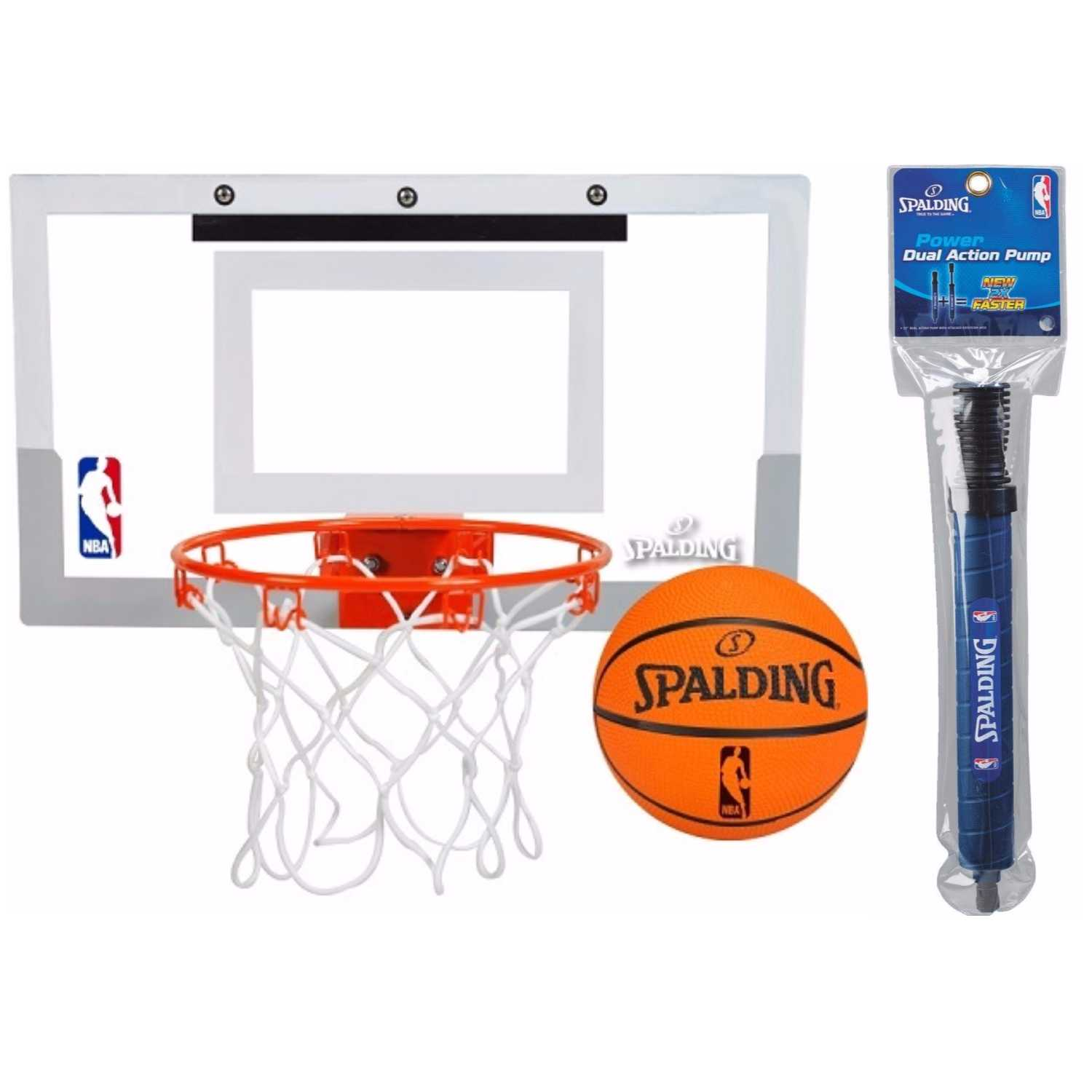 "Spalding NBA Slam Jam Over-The-Door Mini Basketball Hoop Set and 12"" pump bundle"