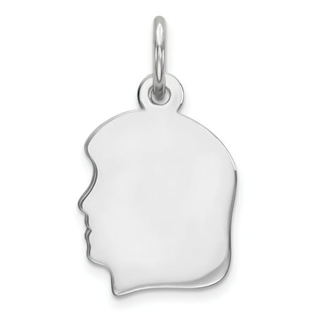 Mia Diamonds Solid 925 Sterling Silver Rhodium-Plated Engraveable Girl Disc Charm Polish on Front and Back Diamond Girl Graduate Charm
