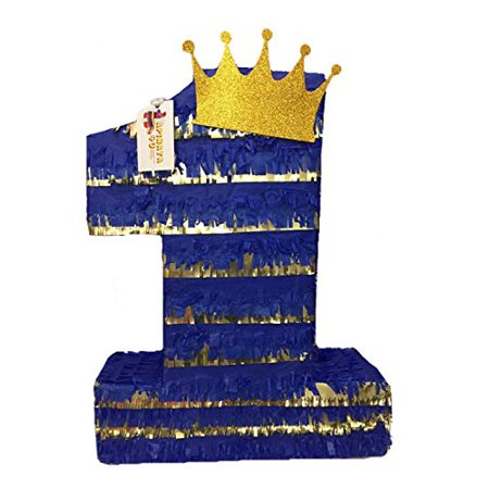 APINATA4U Royal Blue & Gold Prince Theme Number One Pinata