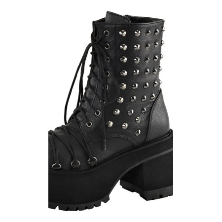 2e7a3818ff6 SummitFashions - Womens Studded Combat Boots Platform Shoes Ankle Boots  Lace Up 4 Inch Heels - Walmart.com