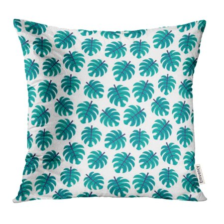 CMFUN Cute Pattern with Tropical Monstera Leaves in Teal Green and Navy Blue on White Pillowcase Cushion Cases 18x18 inch (Glasteel Tropical Green)