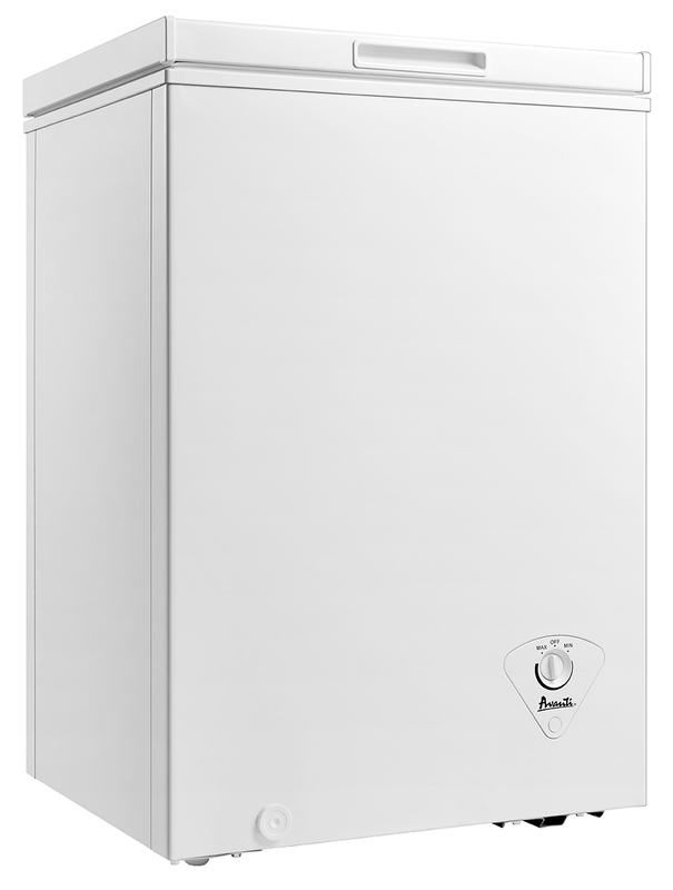 Silver Avanti CF353M3S Slim 20x22x34 Inch 3.5 Cubic Foot Capacity Stand Alone Upright Ice Chest Deep Freezer with Defrost and Removable Storage Basket