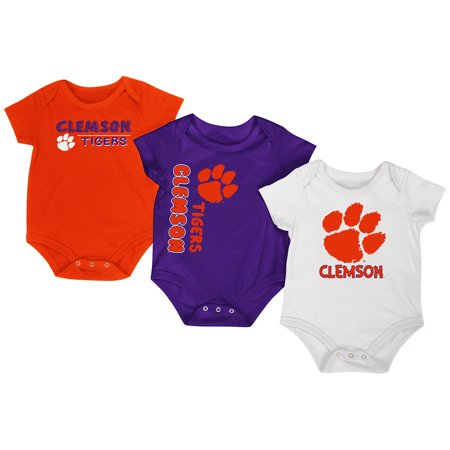 Clemson Tigers Colosseum Orange Purple White Infant One Piece Outfits - 3 Pack (Tiger Outfits)