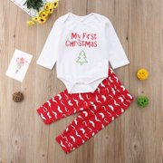 Newborn Baby Girl Boys Christmas Romper+Moustache Print Pants Outfit Clothes Set