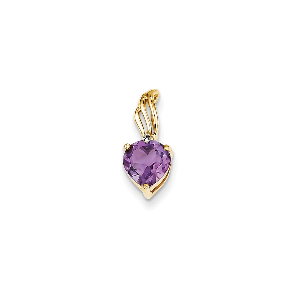 14k Yellow Gold Prong Set Diamond and Amethyst Heart Pendant. Gem Wt- 0.8ct