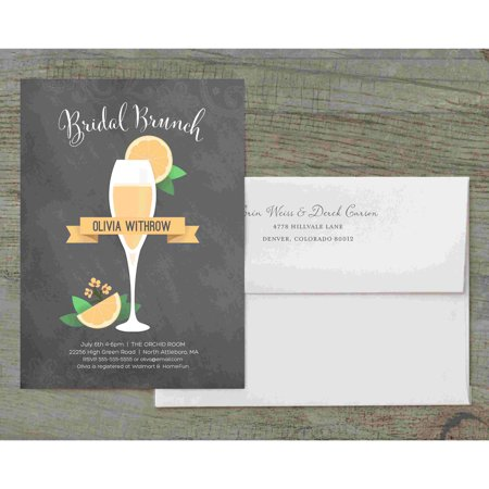 Mimosa Deluxe Bridal Shower Invitation (Blue And Brown Baby Shower Invitations)