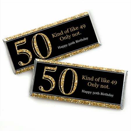 Adult 50th Birthday - Gold - Candy Bar Wrappers Birthday Party Favors - Set of 24 (Printable Candy Wrappers)