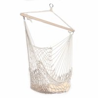 Akoyovwerve Outdoor Hanging Swing Cotton Hammock Chair Solid Rope with Wooden Bar Yard Patio Porch Garden, Beige